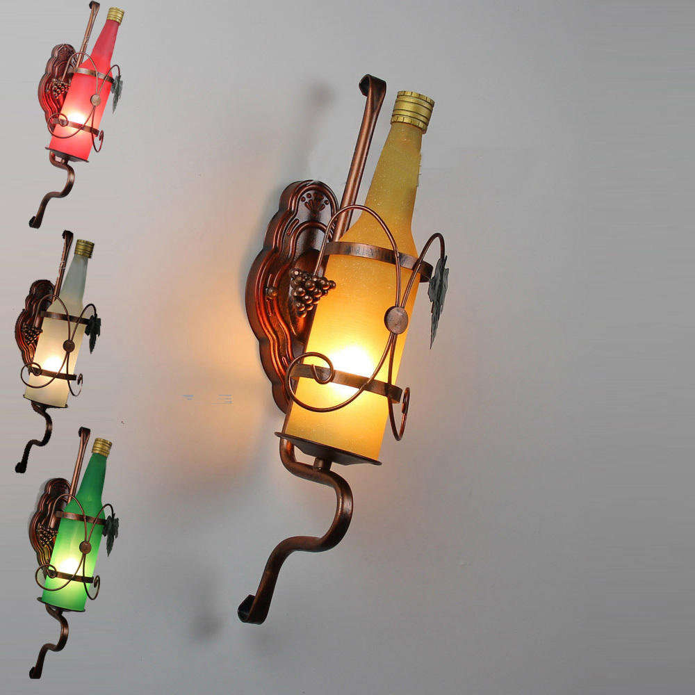 Free Shipping Iron Classical New Modern Frosted Glass Beer Bottle Wall Lamp Metal Frame Club Lighting Fixture gangway wall light free shipping iron classical new modern frosted glass beer bottle wall lamp metal frame club lighting fixture gangway wall light