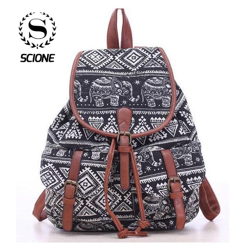 Hot Selling Women's Vintage Canvas Backpack National Ethnic Backpacks Girl Rucksack School Bag Bookbags Shoulder Travel Bag 524t