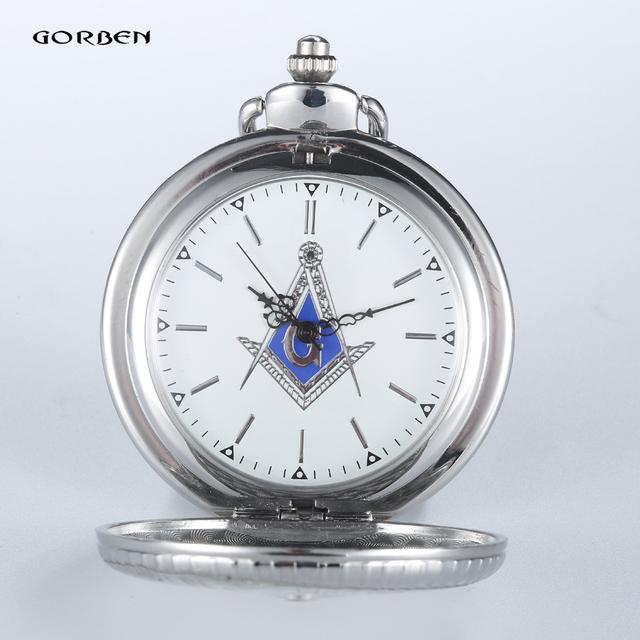 2016 GORBEN Luxury Silver Free-Mason Steampunk Design Hot Masonic Freemason Freemasonry Pocket Watch Quartz Watches Gifts