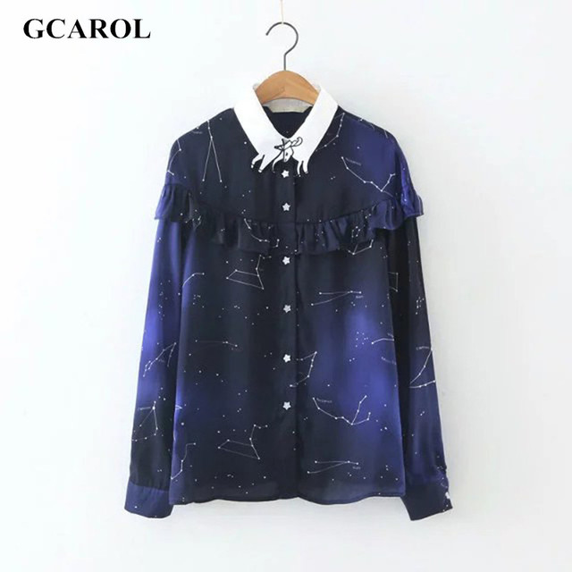 GCAROL Women The Constellation Stars Printed Blouse Ruffles Design Shirt  White Collar Spliced Chiffon Tops For 4 Season
