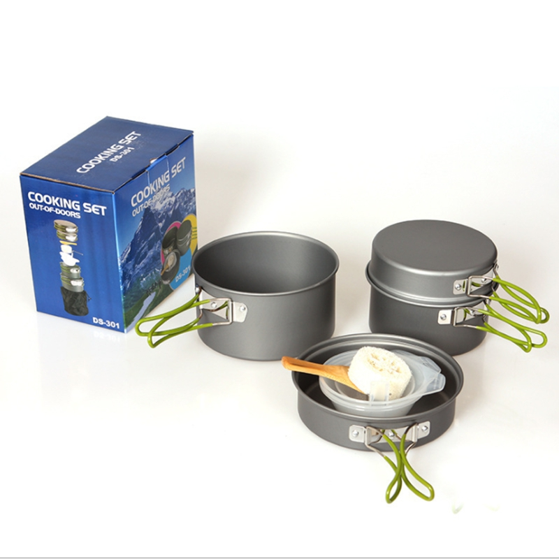 YT Outdoor Camping Cookware Picnic Tableware Pots Frying Pan Bowl Set For Camping Outdoor Travel 2 - 3 Person Pot Sets  цены
