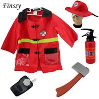 Fireman Sam Costume For Kids Carnival Halloween Costume For Girl Boy Christmas Party Dress Clothes Hat