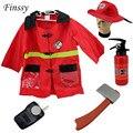 Fireman sam traje para as crianças festa de natal do traje do carnaval de halloween para o menino menina dress roupas chapéu machado de extintores de incêndio