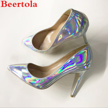 0f7b52413ca3 Beertola Sexy Woman Shoes Super High Heels Stilettos Laser Illusion Pointed  Toe Wedding Shallow Party Runway Women Pumps Size 44