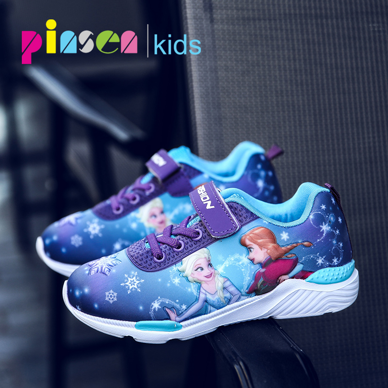 2018 Autumn New Children Shoes For Girls Sneakers Elsa Kids Shoes Fashion Child Casual Sport Boy Running Leather Shoes For Girls boys shoes kids children casual shoes girls brand kids leather sneakers sport shoes fashion casual children boy sneakers 2018