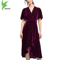 Velvet Dress Women Spring Autumn Irregular Long Dress Fashion Solid color Belt Big swing Dress Plus size Sexy Dress OKXGNZ A1440