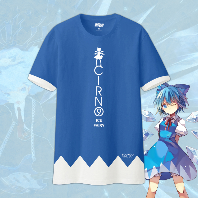 Anime Touhou Project Cirno Ice Fairy Cosplay T shirt Summer Fashion Leisure Short Sleeve Top Free