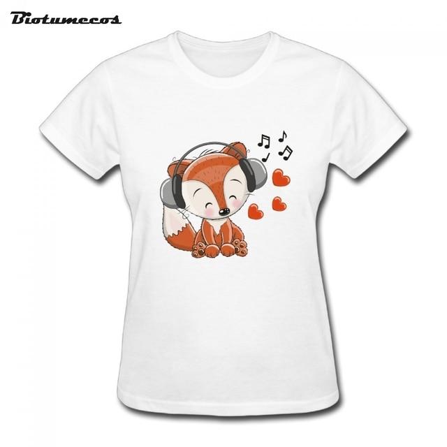 new arrivals women t shirt fox cartoon summer short sleeve o neck