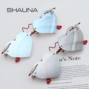 SHAUNA فريد رصاصة 2018 القلب النظارات الشمسية المرأة الأزياء بدون شفة الوردي ظلال