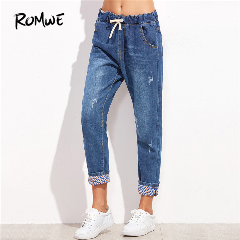 ROMWE Blue Drawstring Waist Cuffed Jeans 2018 Spring Casual Pockets Mid Waist Denim Pants Women Fashion Loose Plain Jeans