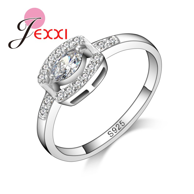 JEXXI Eye-catching Big Shiny Crystal Rhinestone Women Finger Rings  Stainless 925 Logo Silver Jewelry Engagement Wedding Rings e23f8d8a388b