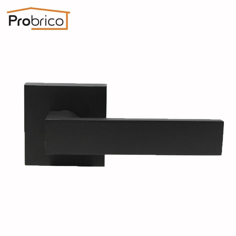 Probrico Black Zinc Alloy Lever & Stainless Steel Cover No Latch Door Knobs Handles For Interior Door Lever Handle Door Hardware цена