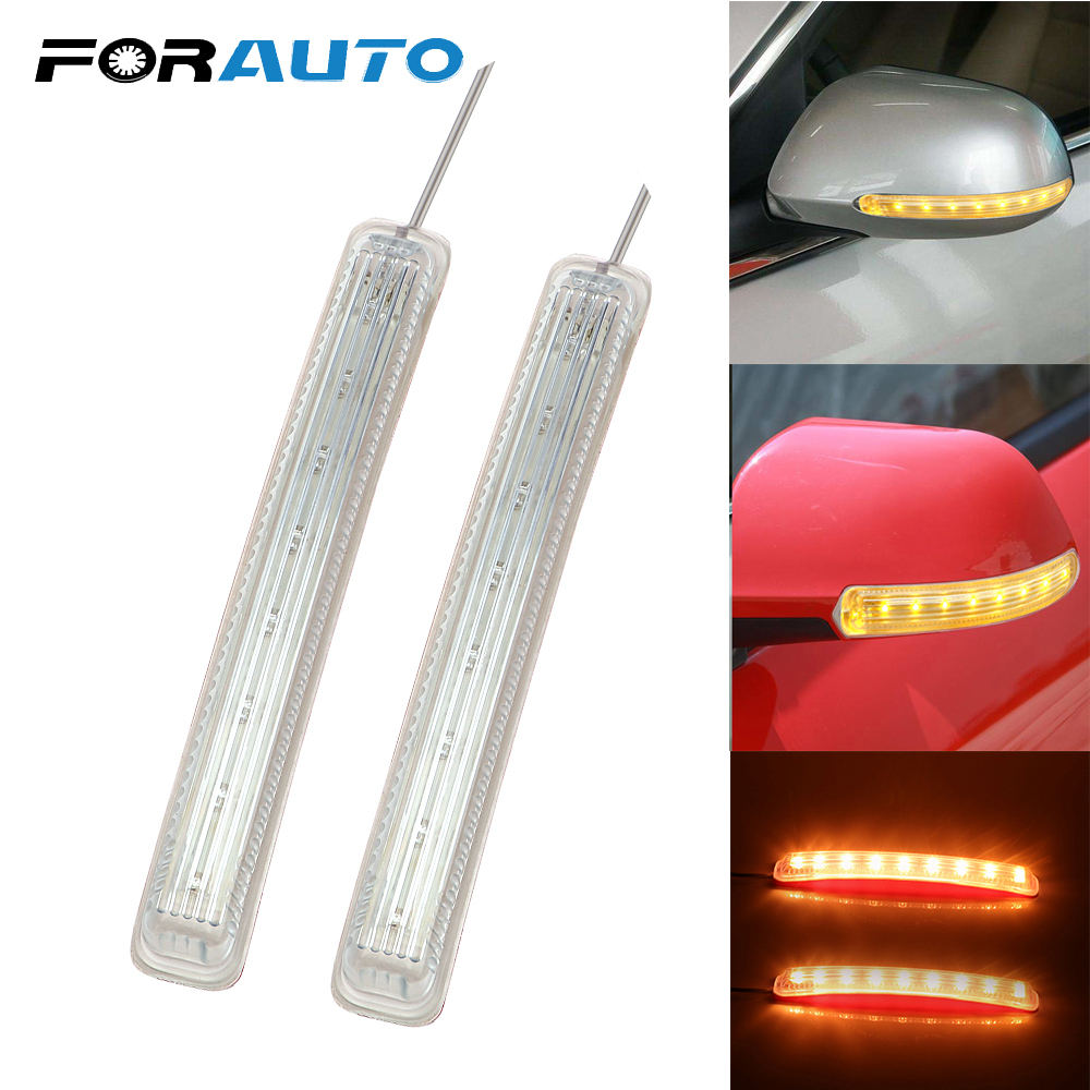 2Pcs LED Car Turn Signal Light Auto Rearview Mirror Indicator Lamp Soft Flashing FPC Yellow 9 SMD Amber Light Source Universal
