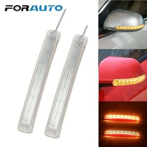 2Pcs LED Car Turn Signal Light Auto Rearview Mirror Indicator Lamp Soft Flashing FPC Yellow 9 SMD Amber Light Source Universal(China)