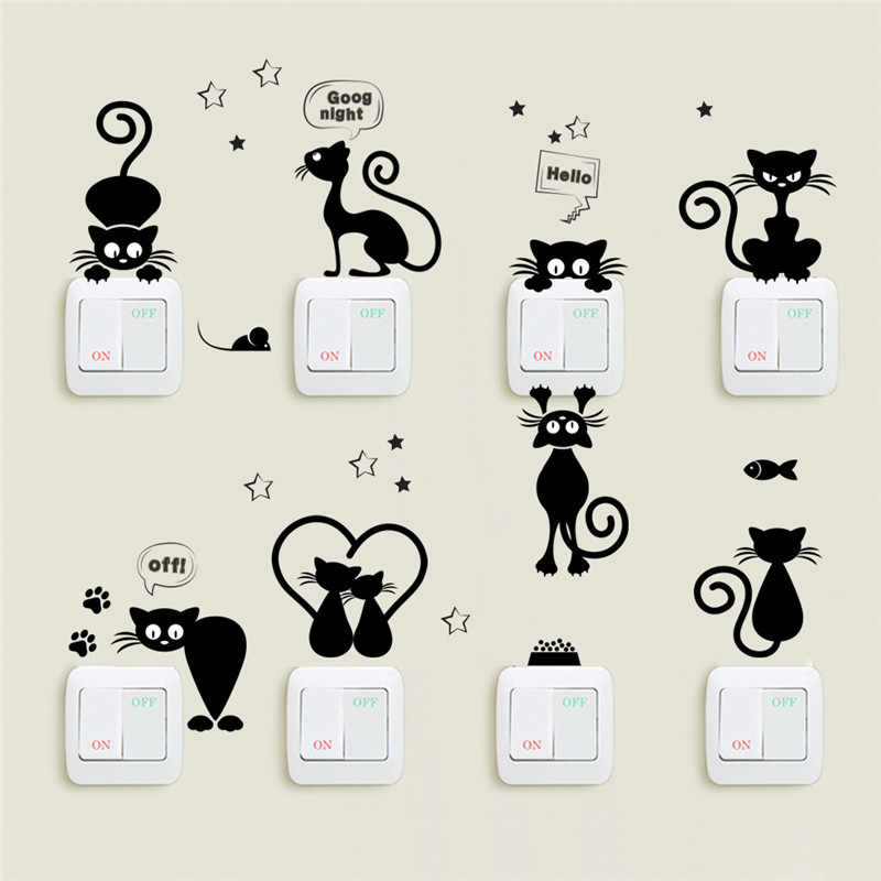 cat switch wall stickers bathroom cartoon home living room bedroom decoation adesivo de parede home decor