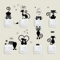 Pegatinas de pared con interruptor de gato, dibujos animados para el baño, sala de estar, dormitorio, decodificación adesivo de parede, decoración para el hogar