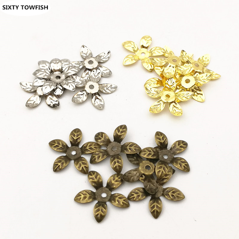 50 pcs/lot 15mm Gold color/Antique bronze Metal Filigree Flowers Slice Charms base Setting Jewelry DIY Components Findings