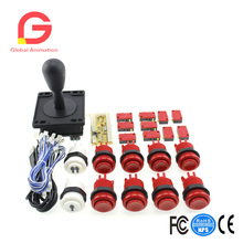 USB Controller To PC Games + Happ Type Handheld Joystick + 8x Red Push Buttons +1 Player 2 Player Start Buttons With Micro Swith