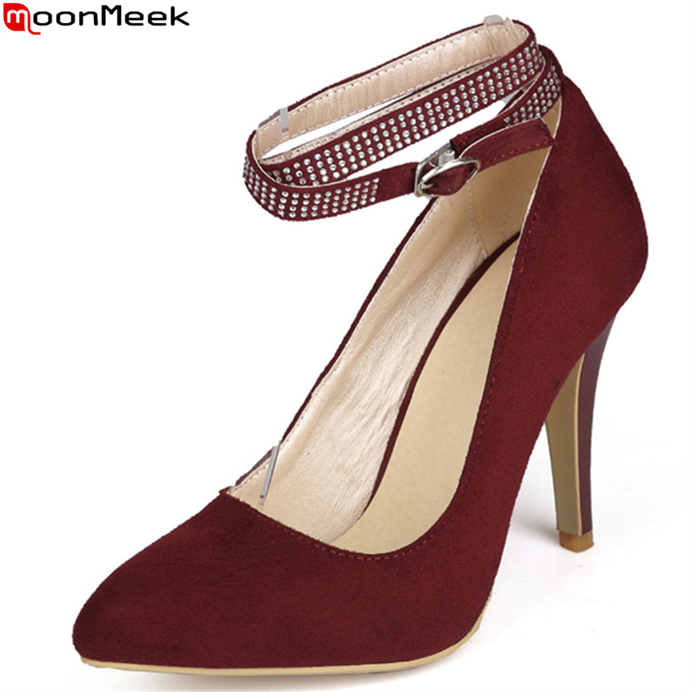 MoonMeek fashion spring autumn new women pumps pointed toe buckle shallow ladies prom shoes elegant high heels shoes big size spring autumn shoes woman pointed toe metal buckle shallow 11 plus size thick heels shoes sexy career super high heel shoes