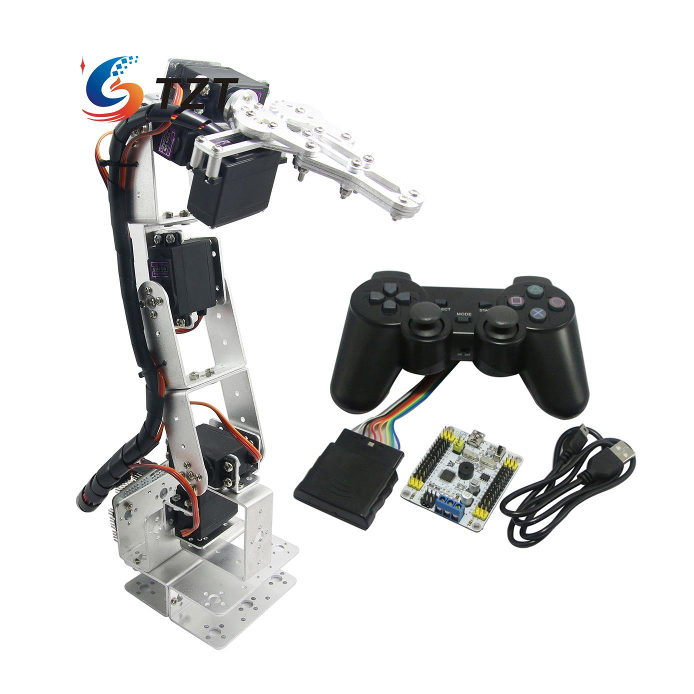 Assembled 6DOF Robot Arm Robotic Arm with Clamp Claw & LD-1501 Servos & Controller for Arduino TZT3U - Silver wirelessly synchronized robotic arm