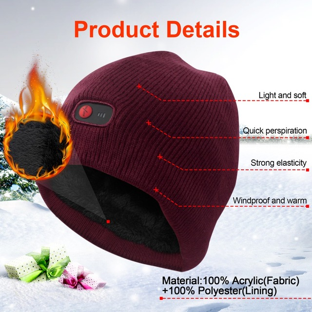 7.4V battery heated caps keep warm winter outdoor sports quick heating head warmer 3 levels control women Red 2018 2