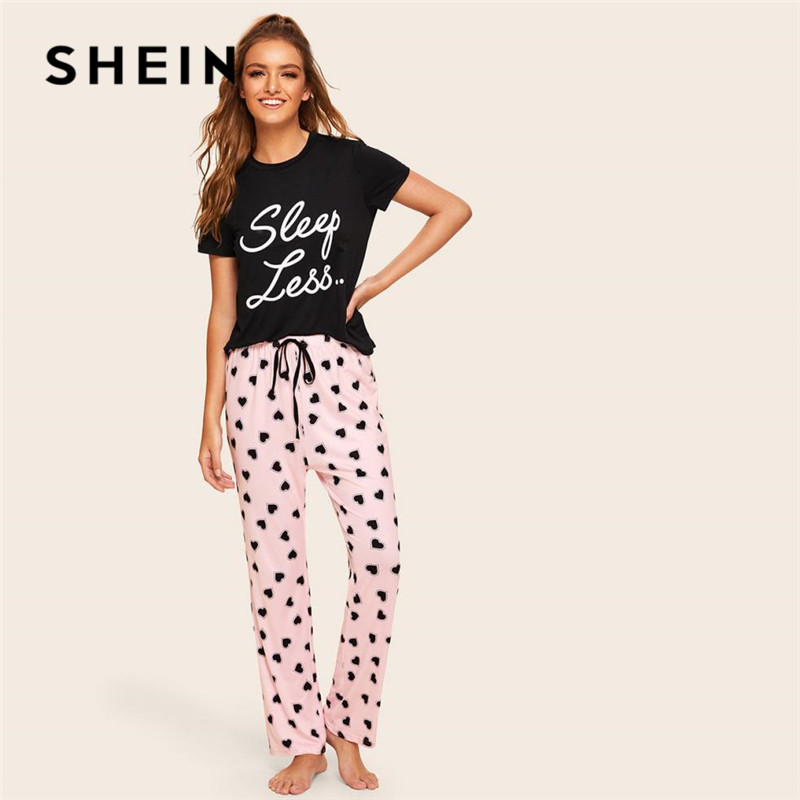 SHEIN Slogan Print Top And Drawstring Waist Heart Pants Pajamas For Women Spring Summer Casual Lady Short Sleeve Pajama Set
