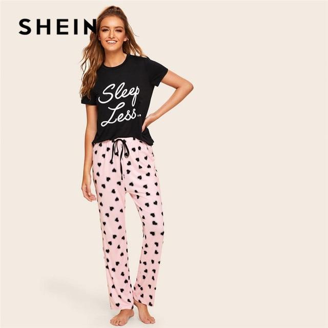 5368476935 SHEIN Slogan Print Top And Drawstring Waist Heart Pants Pajamas For Women  Spring Summer Casual Lady Short Sleeve Pajama Set