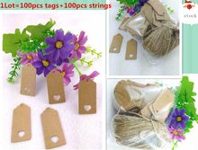 100X Brown Kraft Paper Tags Lace Scallop Head Label Luggage Wedding Note +String DIY Blank price Hang tag Kraft Gift Hang tag(China)