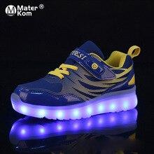 גודל 25 37 ילדים LED Sneaker בני נעלי USB טעינה ילדי נעליים עם אור למעלה זוהר בנות זוהר סניקרס נעלי בית ספר