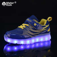 Size 25-37 Kids LED Sneaker Boys Shoes USB Charging Children Shoes with Light up Luminous Girls Glowing Sneakers School Shoes