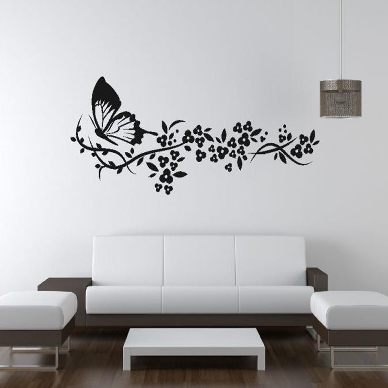 Aliexpress Buy Butterfly Flowers Big Wall Art Sticker Removable Vinyl Decal Transfer Decals For Living Room Home Decoration Drop Shipping From