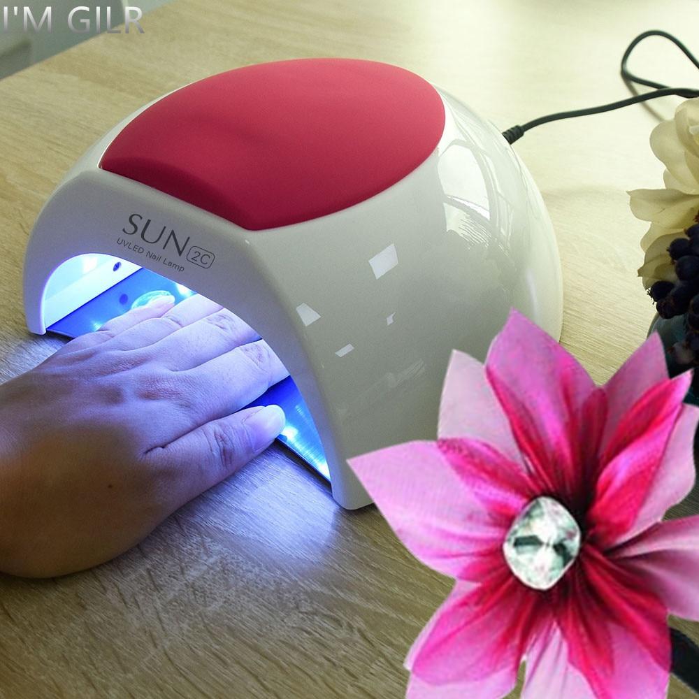 Je suis fille SUN2C 48 W lampe à ongles lampe UV SUN2 sèche-ongles pour UV Gel sèche-ongles capteur infrarouge avec coussin en Silicone Rose utilisation de Salon