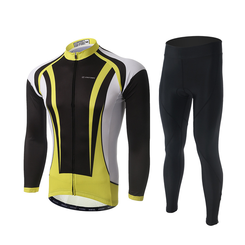 Men Cycling Sets Black Yellow Long Sleeve Jersey and Pants with GEL Pad  Bike Bicycle Jersey Trousers Suit Sportswear CiclismoMen Cycling Sets Black Yellow Long Sleeve Jersey and Pants with GEL Pad  Bike Bicycle Jersey Trousers Suit Sportswear Ciclismo