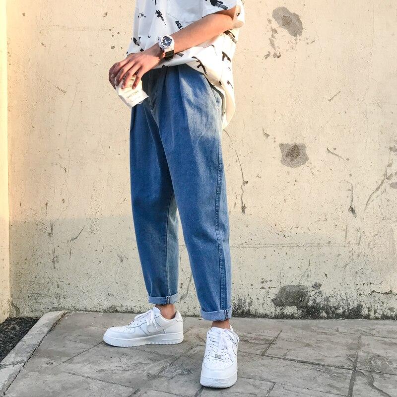 Denim Jeans Men 2018 Solid Blue Soft Jeans Men Slim Fit Jeans For Men Streetwear Hombre Straight Loose Denim Pants Male Trousers Jeans Aliexpress