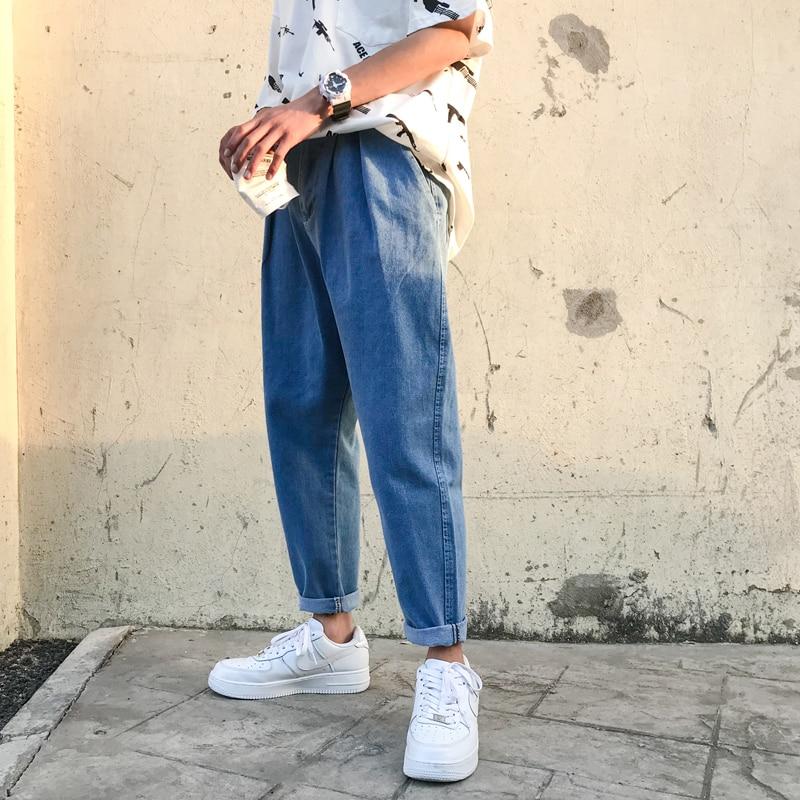 Denim Jeans hombres 2018 azul suave vaqueros Slim Fit Jeans para hombres  Streetwear Hombre flojo recta d18de9aee40