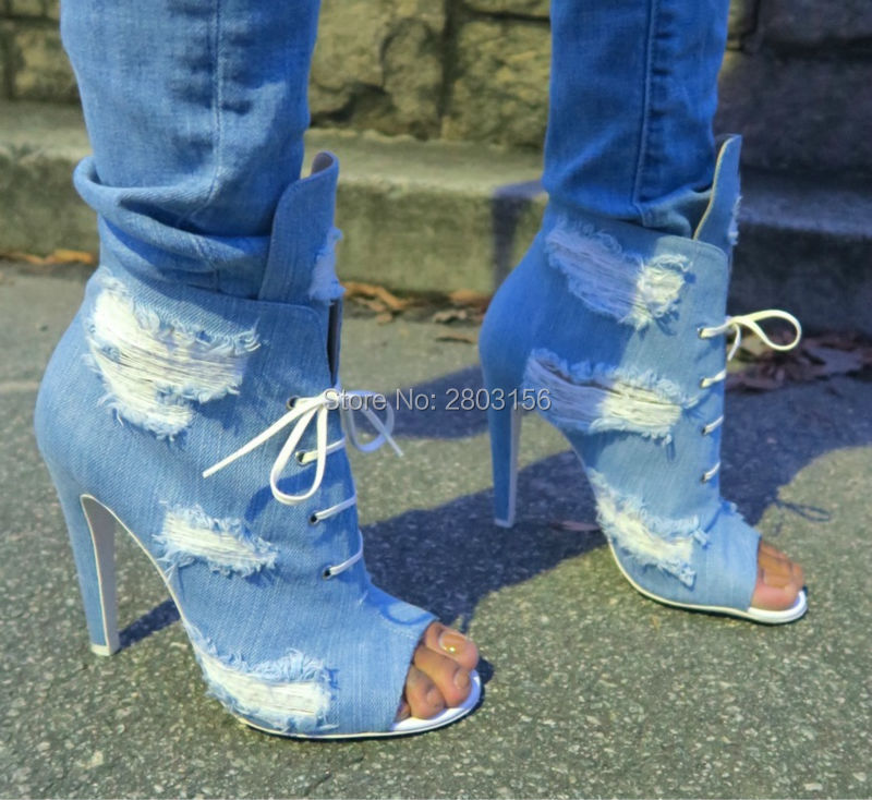 Newest Peep Toe Denim Thin High heels Lace Up Cut-outs Sandal Boots Fashion Women Gladiator Shoes Short Ankle Booties newest cut outs metal chain heels ankle boots leather open toe summer gladiator boots high heeled sandals free shipping