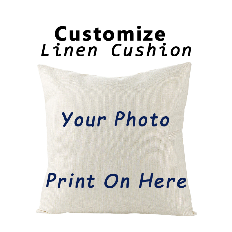 RULDGEE Custom Throw Flax Cushion Pillow Cover Printed Linen Square Home  Decorative Pillowcase For Art Bedroom Living Room