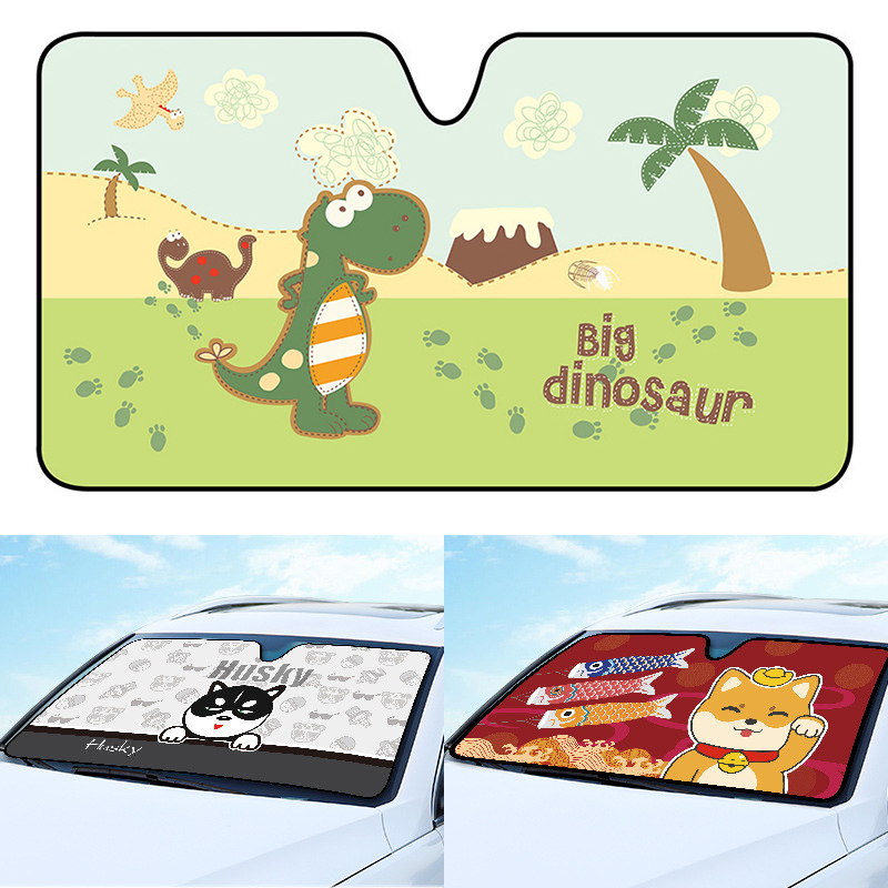Cartoon Window Foils Windshield Sunshade Car Front Windscreen Cover Sun Shade Auto Sun Visor Car Covers Exterior Accessories