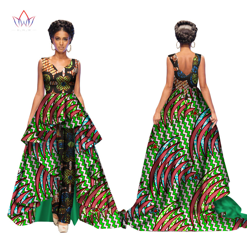 African 2017 Summer Bazin Elegant Jumpsuits for Women Maxi Sleeveless Romper And Long Dashiki Pants Plus Size BRW WY2117 3