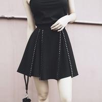 Punk Rivet Mini Skirt Women A Line High Waist Chic Retro Harajuku Short Pastel Goth Skirts Summer Fashion
