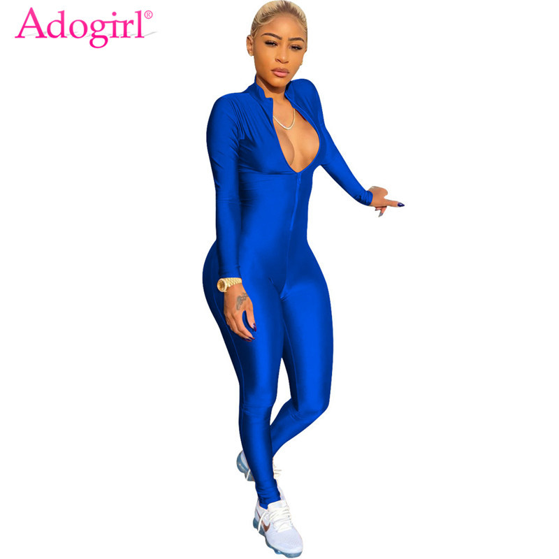 Adogirl 2018 Hot Zipper Up Long Sleeve Skinny Jumpsuits Women Sexy Stand Collar Bandage Rompers Plus Size Night Club Overalls