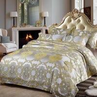 golden luxury silk bed linen jacquard bedding set queen size palace pillow cases king flat sheet duvet cover adult home textile