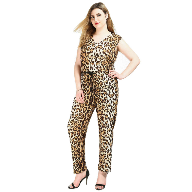 80565b27401 Fashion women summer sexy jumpsuits plus size loose leopard print jumpsuit  V neck casual female jumpsuit womens ZOJ1090