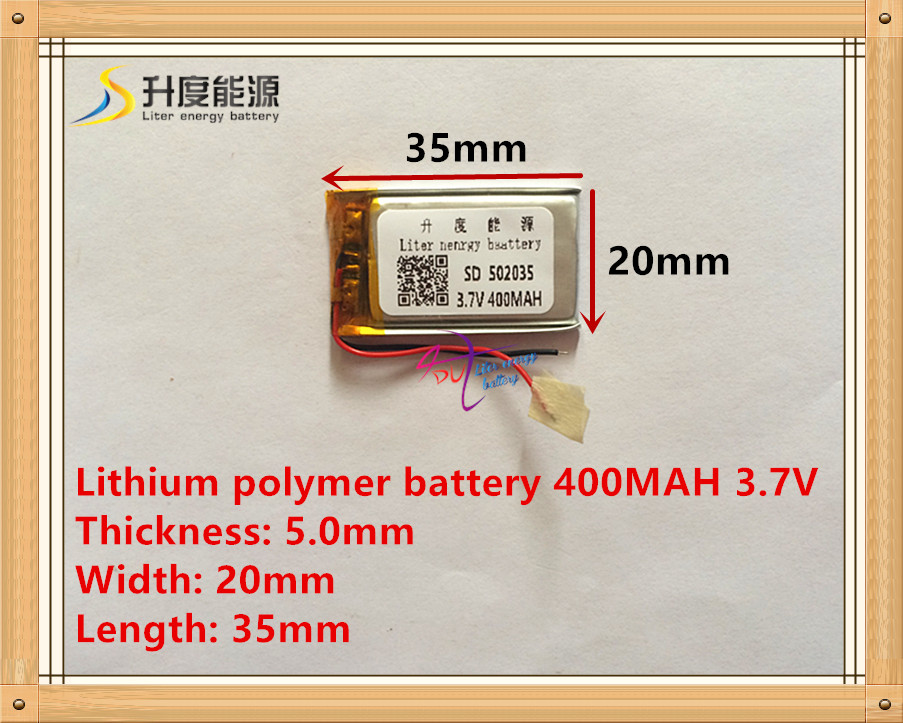 Supply polymer lithium battery 502035 3.7V 052035 400MAH MP3 MP4 MP5 battery bluetooth headset battery 3 7v lithium polymer battery 302033 100mah mp3 mp4 battery audio clip small toys