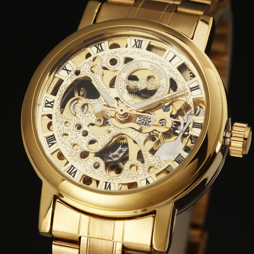2016 Fashion WINNER Classic Automatic Mechanical Self-Wind Carving Skeleton Roman Index Dial Full Steel Women Wrist Watches