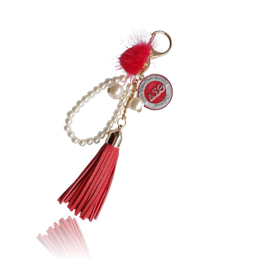 casual PU leather tassels women keychain bag pendant DST Sorority tassel pearl car keychain ring holder jewelry