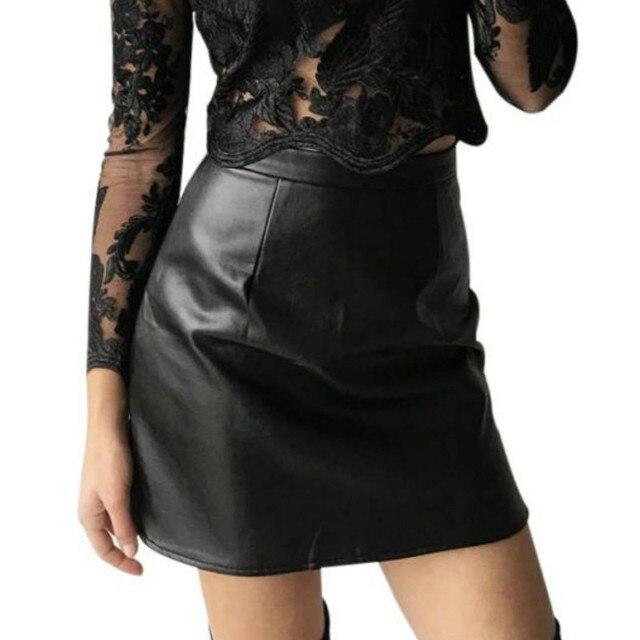 ebb9d3a07 € 16.27 |Moda naranja de moda de alta cintura Faux falda de cuero sexy  streetwear falda negra otoño elegante pu partido marrón mini mujeres Faldas  ...