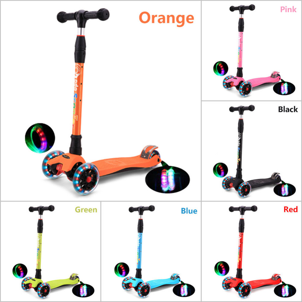 New Children's s Scoot Kick Scooter Foldable Liftable PU 3 Wheels LED Kickboard Scooter with Printings Gift toy to Children children 3 flashing wheels scooter lightweight outdoor play kids foot twister swing car tricycle ride scooter best gift