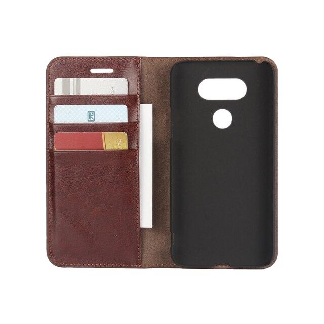 Caso carteira de luxo para lg g5 h830 cow genuine sacos de couro flip tampa do telefone estojo de couro para lg g5