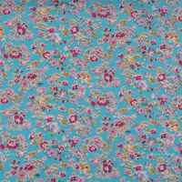 Blue Floral 100% Cotton Printed Poplin Fabric for Dress, Shirts, Patchwork, Quilting Cloth Sewing Tissue 145cm 57